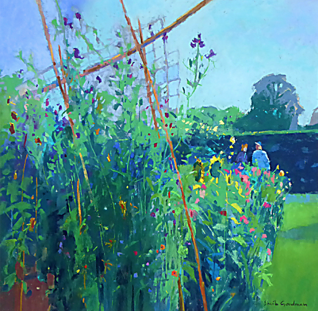 "February's awe-inspiring pastels: Sheila Goodman, ""Conversation in the Garden,"" pastel, 12 x 12 in"