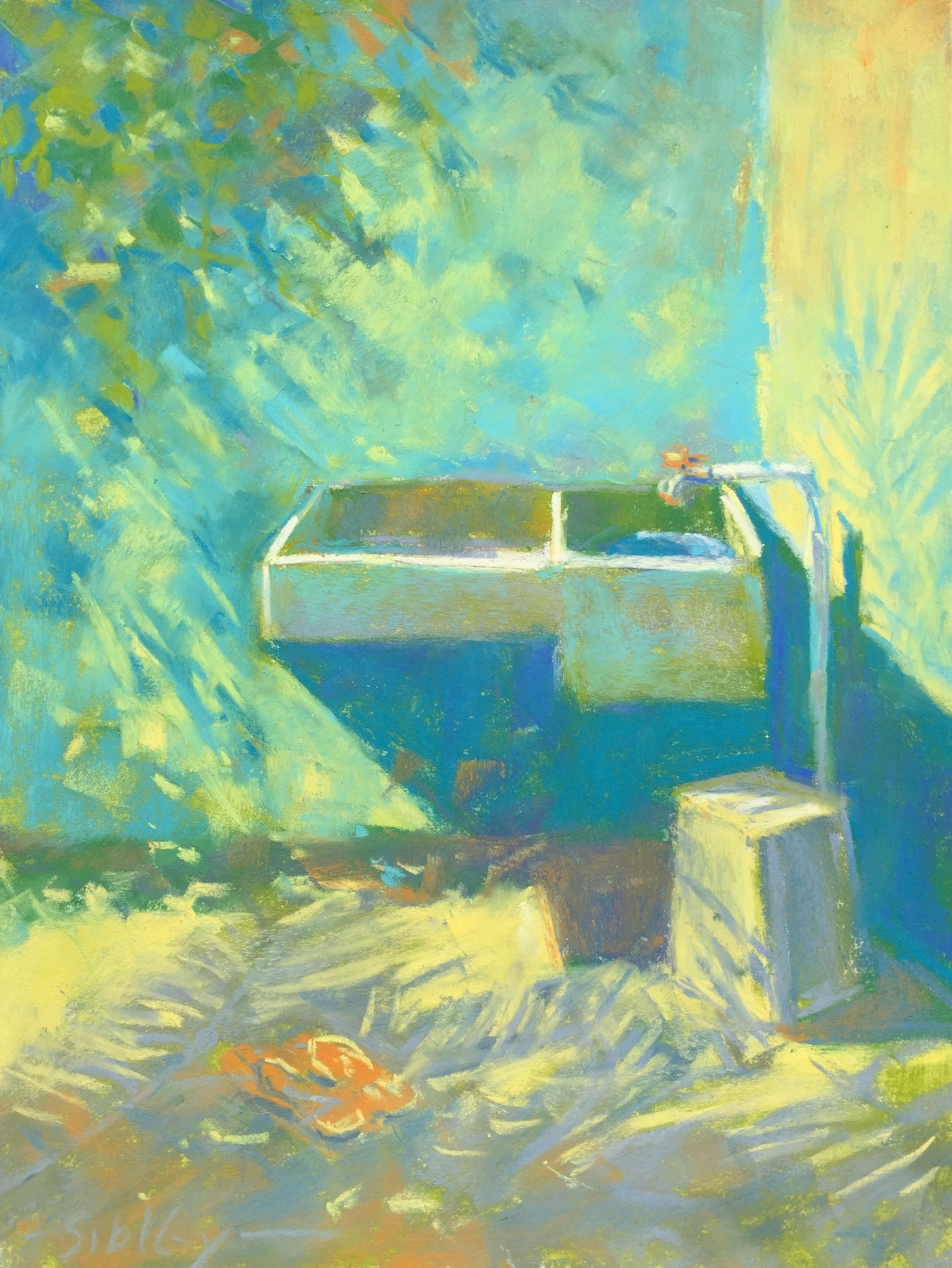 The Art of Cropping: Pastel piece finished en plein air - The Orange Tap