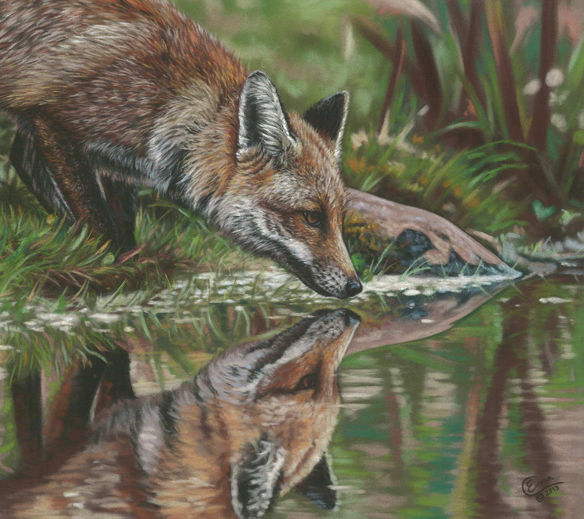 "Emma Colbert, ""Water's Edge,"" 2013, Unison pastels on Hahnemühle velour paper, 18 x 14 in. Sold. One of my favourite fox paintings and an early experiment with loosening up in water reflections."