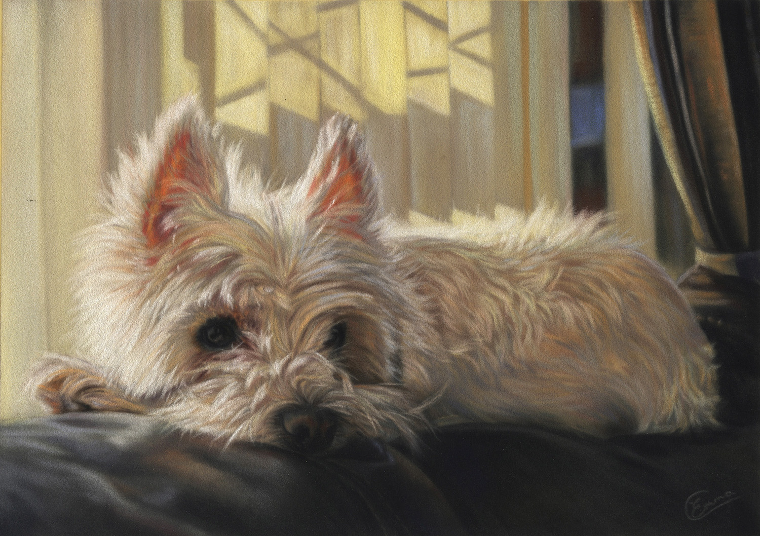 "Emma Colbert, ""Fluffy,"" 2015, Unison pastels on Hahnemühle velour paper 12 x 10 in. Commissioned Portrait"