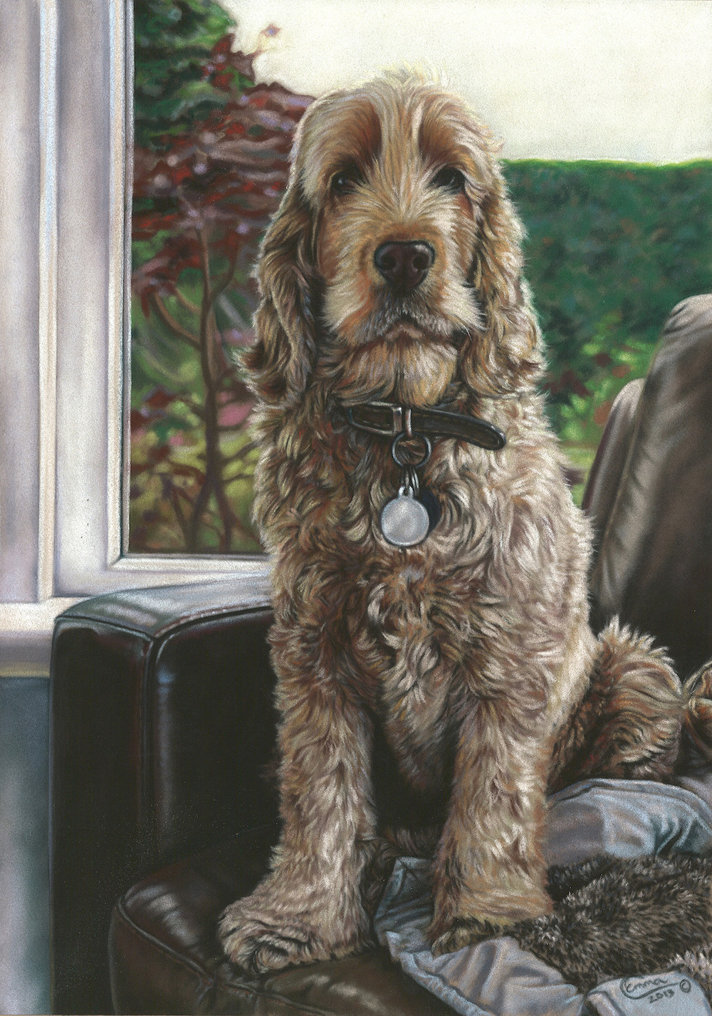 "Emma Colbert, ""Ruffles,"" 2013, Unison pastels on Hahnemühle velour paper, 18 x 12 in. Commissioned Portrait."