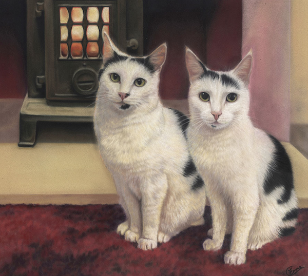 "Emma Colbert, ""Cosy Cats,"" 2016, Unison pastels on Hahnemühle velour paper, 18 x 14 in. Commissioned portrait from several photos which proved to be a complete nightmare!"
