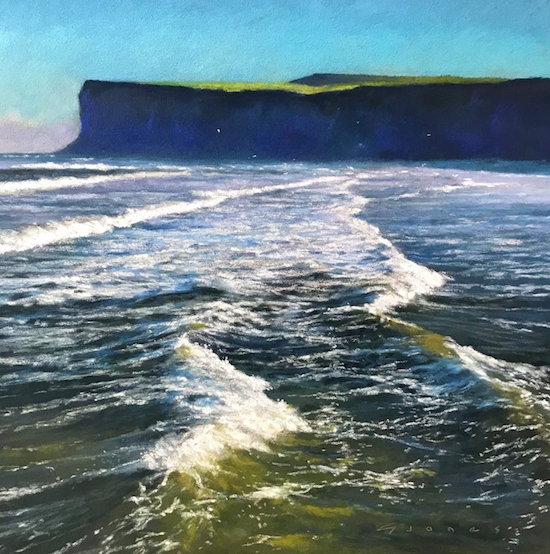 "March's startling pastels: Gareth Jones, ""The Coast is Clear,"" Unison and Terry Ludwig pastels on Sennelier LaCarte paper, 14 1/2 x 14 1/2 in (37 x 37 cm)"