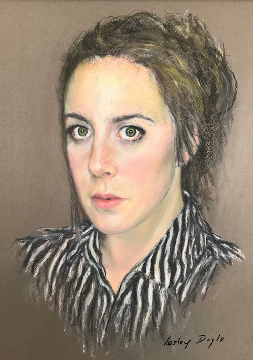 March's startling pastels: Lesley Doyle, First Portrait, pastel, lifesize
