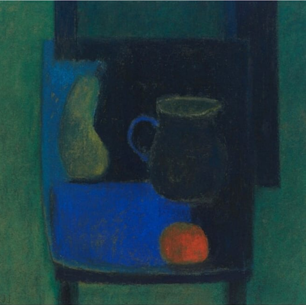 "March's startling pastels: Robin Warnes, ""Blue Chair, Jug, and Pear,"" pastel, 20 3/4 x 19 3/4 in (53 x 50 cm)"