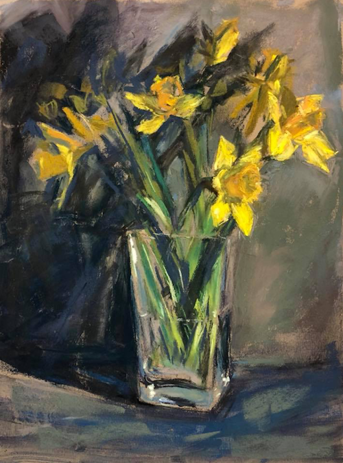 "March's startling pastels: Stephanie Cohen Mouw, ""Spring Daffs,"" pastel on Pastel Premier Italian Clay, 12 x 9 in"