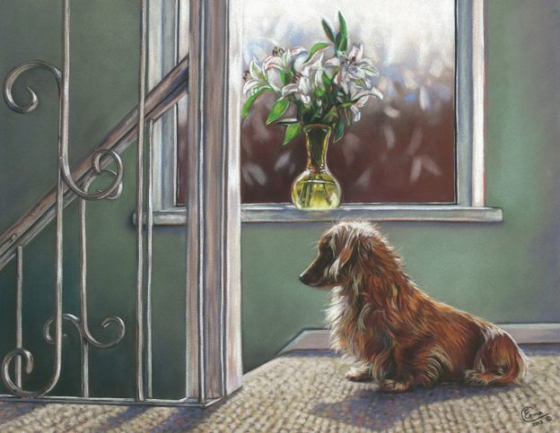 "Emma Colbert, ""Waiting,"" Unison on Hahnemühle velour paper, 18 x 14 in, Sold. One of the many paintings I have done of my own girl Brocci."