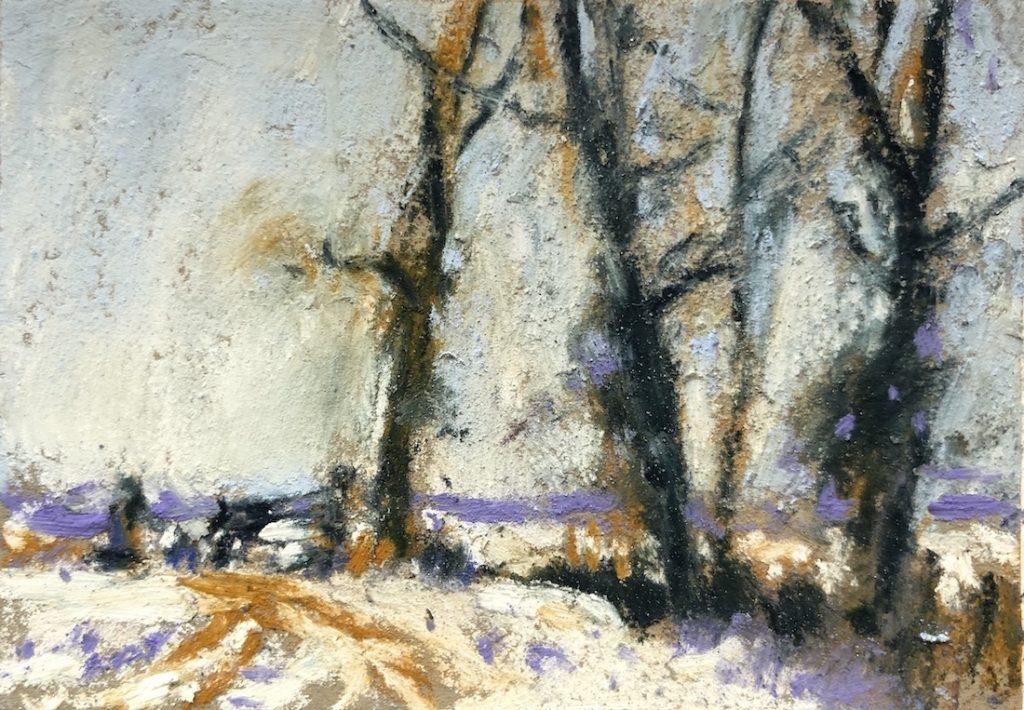 Mini copies: copie d'après Edward Seago, Norfolk Fields en hiver, pastels unison couleur, 2 1/4 x 3 1/4 in.