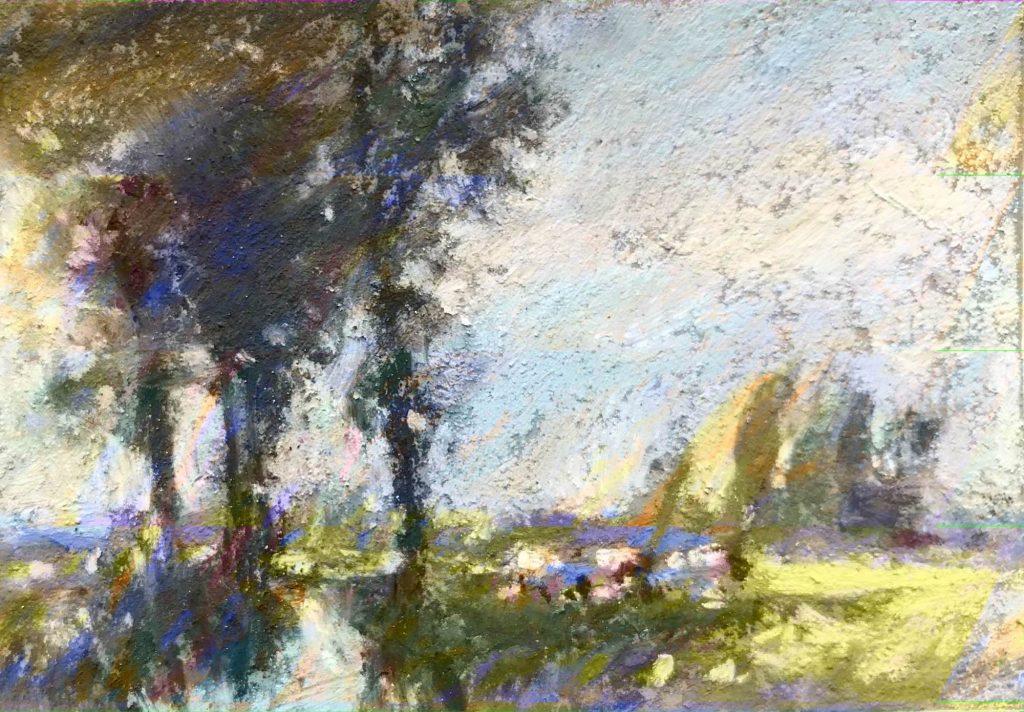 Mini copies: copie d'après Edward Seago, Thorn Marsh avec des bovins et des arbres, pastels unison couleur sur ArtSpectrum coloré, 2 1/2 x 3 1/2 in.