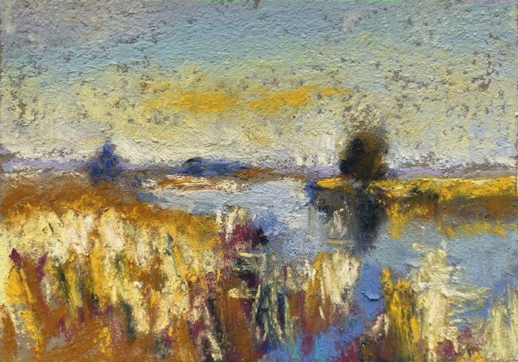 Mini copies: copie d'après Edward Sungo Winter Sunlight on the Thurne, Unsion Color pastels on Artspectrum Colorful, 2 1/4 x 3 1/4 in.