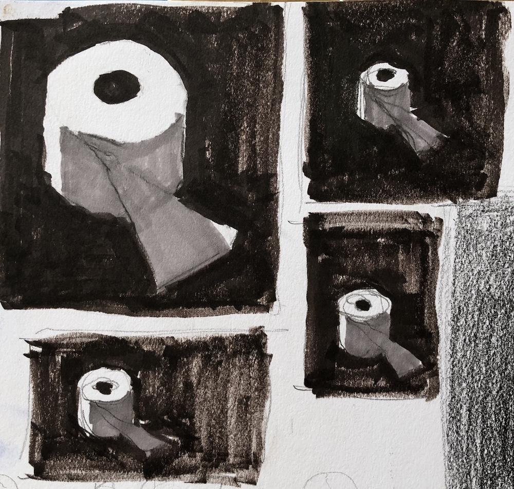 Quatre vignettes d'un rouleau de papier toilette montrant les variations de format.