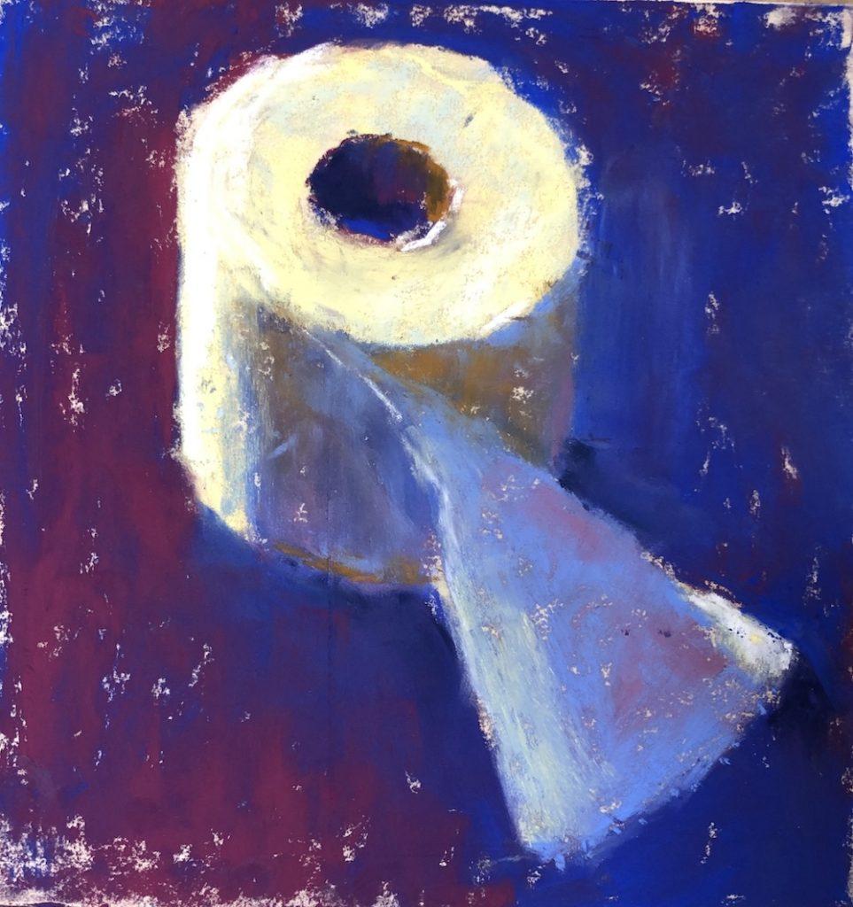 Faire une déclaration avec vous art: Gail Sibley, peinture pastel de démonstration d'un seul rouleau de papier toilette, pastels Unison Color sur UART 400, 6 x 5 3/4 in.