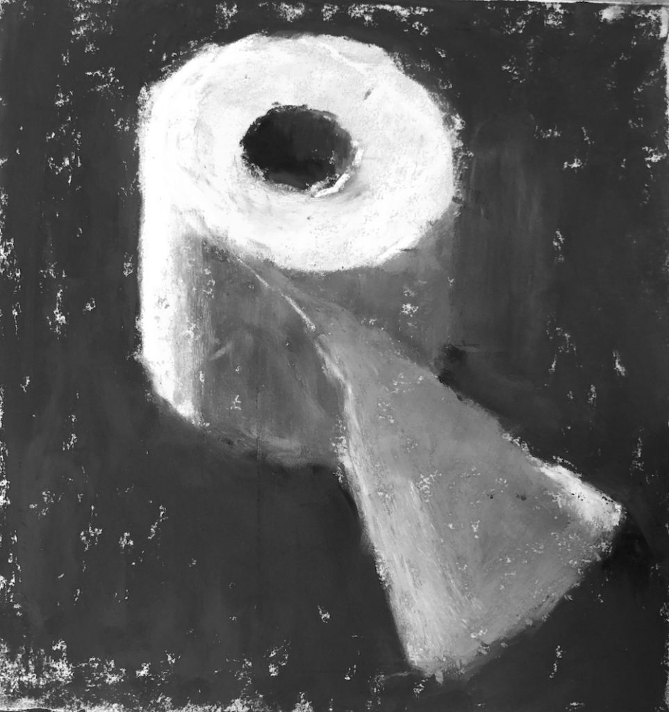Gail Sibley, peinture pastel de démonstration d'un seul rouleau de papier toilette, pastels unison couleur sur UART 400, 6 x 5 3/4 po. En noir et blanc